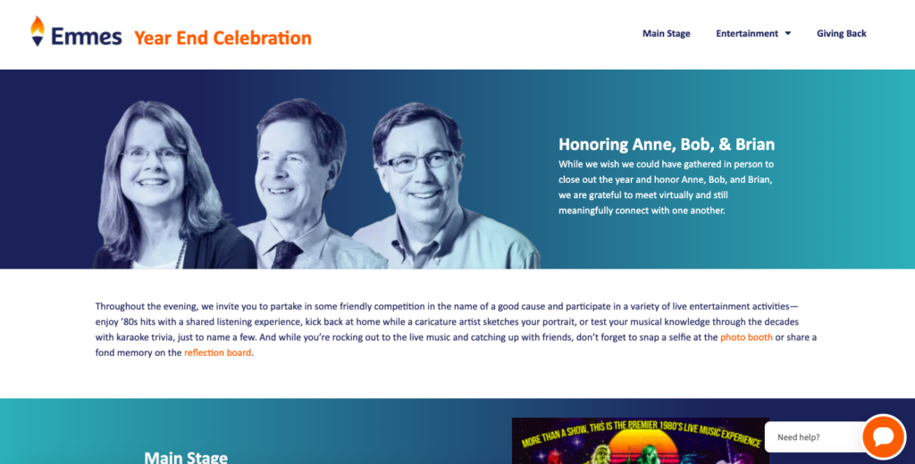 Virtual Event Dashboard for a corporate year end celebration
